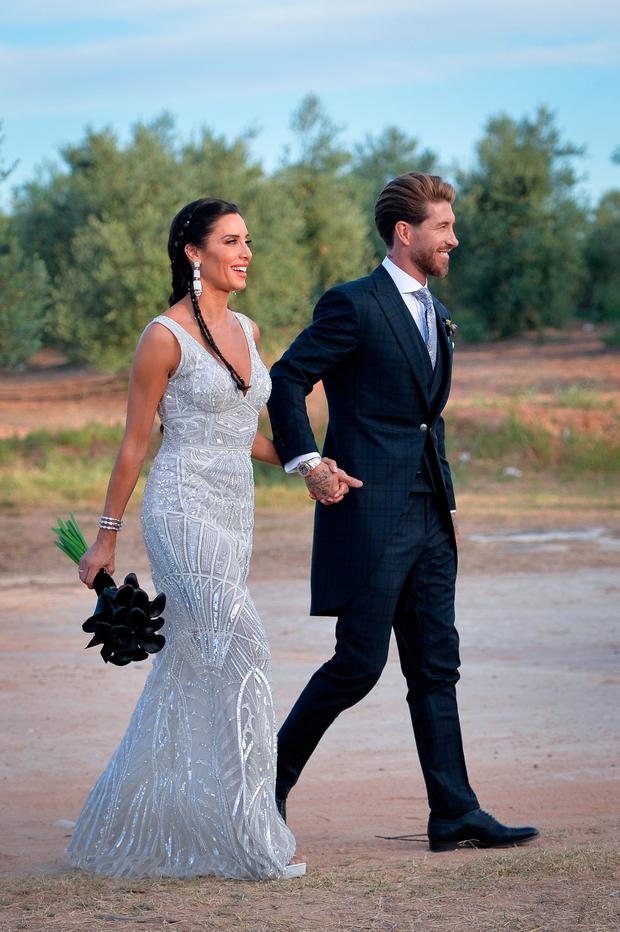Pilar Rubio and the groom Sergio Ramos pose before the wedding party on June 15, 2019 in Seville, Spain. (Photo by Aitor Alcalde/Getty Images)