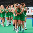 Elena Tice and Zoe Wilson of Ireland lead the team aroung after defeat following the FIH World Hockey Series Final match between Ireland and Korea at Banbridge Hockey Club in Banbridge, Down. Photo by Oliver McVeigh/Sportsfile