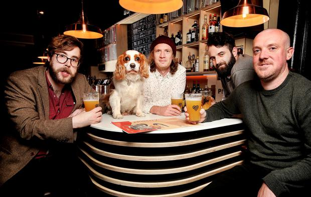 Cheers: Alex Lawes, Arthur the dog, David Parle, Packie McCarthy and Alan Wolfe, who are behind the Fidelity festival at The Mansion House in Dublin on July 13. Photo: Steve Humphreys