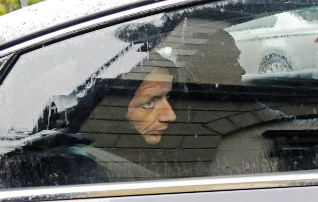 In court: James Kilroy, charged with the murder of his wife Valerie French Kilroy, is driven away from Castlebar District Court. Photo: Conor McKeown