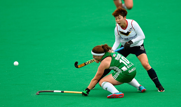 Shirley McCay in action against South Korea's Cheon Eunbi. Photo: Oliver McVeigh/Sportsfile