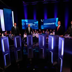 (left to right) Michael Gove, Jeremy Hunt, Sajid Javid, Dominic Raab and Rory Stewart, with an empty plinth representing absent candidate Boris Johnson, ahead of the live television debate on Channel 4 Photo credit: Tim Anderson/Channel 4/PA Wire