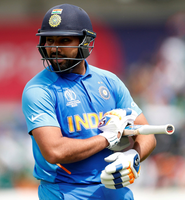 India's Rohit Sharma reacts after losing his wicket. Photo: Reuters/Lee Smith