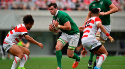 Test run: James Ryan on the charge against Japan during Ireland's summer tour in 2017 with Devin Toner in support. Photo: Brendan Moran/Sportsfile