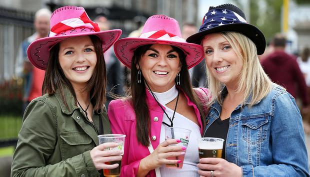 Enjoying the Bon Jovi Concert at the RDS at the weekend was Michelle Breen, Nicola Bowler and Deirdre Young all from Tralee Co Kerry. Photo: Steve Humphreys