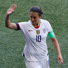 Carli Lloyd of the US gestures to fans after the match. Photo: REUTERS/Gonzalo Fuentes