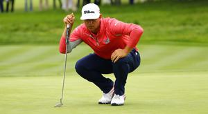 Gary Woodland lines up a putt on the 2nd green during the final round of the 2019 U.S. Open golf tournament at Pebble Beach Golf Links. Mandatory Credit: Rob Schumacher-USA TODAY Sports
