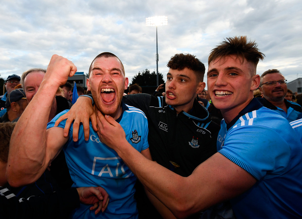 DAYS LIKE THIS: Dublin players (l-r) Eamonn Dillon, Eoghan O'Donnell and Cian Hendricken savour their win over Galway with fans following the Leinster SHC shock victory at Parnell Park. Photo: Ramsey Cardy/Sportsfile