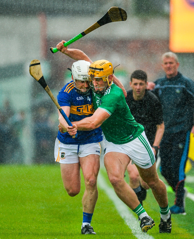 Tom Morrissey of Limerick in action against Sean OBrien of Tipperary. Photo: Diarmuid Greene/Sportsfile