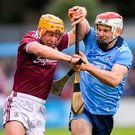 David Glennon of Galway in action against Paddy Smyth of Dublin. Photo: Ramsey Cardy/Sportsfile