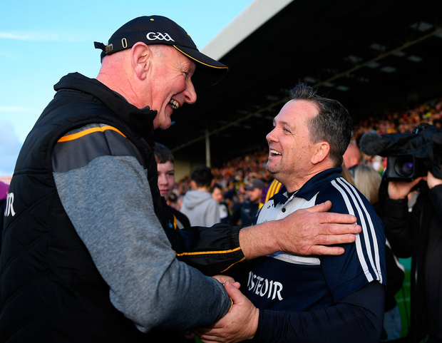 Brian Cody and Davy Fitzgerald share a smile after both Kilkenny and Wexford booked their places in the Leinster SHC final. Photo: Piaras Ó Mídheach/Sportsfile