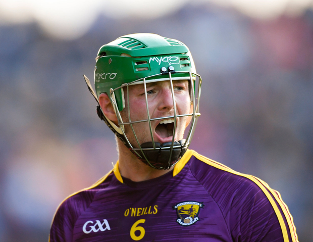 Matthew O'Hanlon of Wexford reacts after he was sent off by referee Fergal Horgan late in the second half. Photo: Piaras Ó Mídheach/Sportsfile