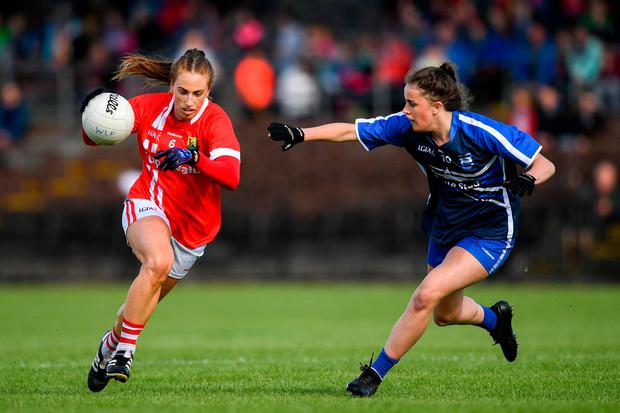Aishling Hutchings of Cork in action against Kellyann Hogan of Waterford. Photo: Harry Murphy/Sportsfile