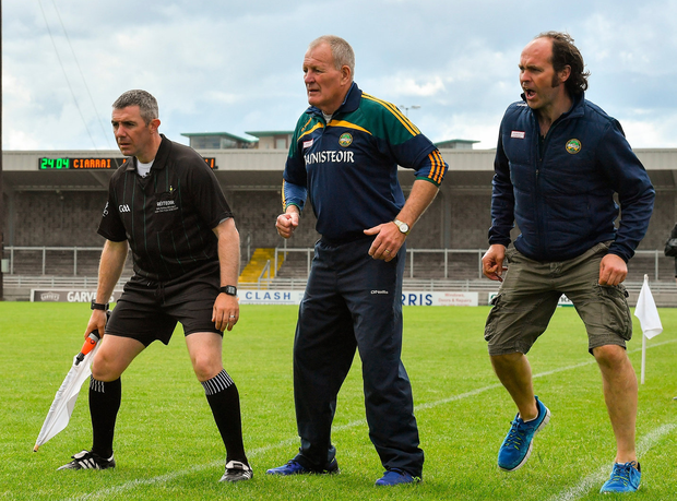 Offaly manager Joachim Kelly, selector Ger Oakley and linesman Liam Gordon look on during the second half of the Joe McDonagh Cup clash in Tralee. Photo: Brendan Moran/Sportsfile