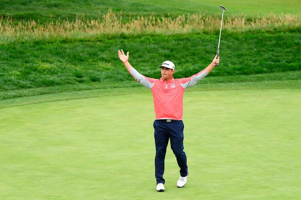 Gary Woodland of the United States celebrates on the 18th green after winning the 2019 U.S. Open at Pebble Beach Golf Links on June 16, 2019 in Pebble Beach, California. (Photo by Harry How/Getty Images)