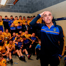Roscommon manager Anthony Cunningham and his team in the dressing room following the Connacht GAA Football Senior Championship Final match between Galway and Roscommon at Pearse Stadium in Galway. Photo by Ramsey Cardy/Sportsfile