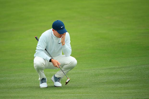 Rory McIlroy dejected on the sixth hole during the final round of the 2019 U.S. Open at Pebble Beach