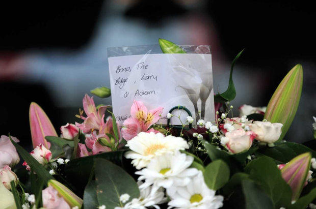 Flowers from U2 at the funeral of Philomena Lynott Photo: Mark Condren/INM