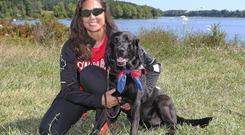 Victoria Nolan with her guide dog Alan