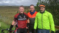 Major undertaking: Alan Heaney, Maurice Dore and Jonathan Verry will take part in the 2,000km Lourdes to Knock cycle this week to raise awareness for farmers' mental health.