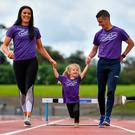 Marian and Rob Heffernan with their daughters Tara and Regan at the Irish Life Health Festival of Running launch, an event for elite and everyday runners on July 28 at Morton Stadium, Santry, Co Dublin. Photo: Brendan Moran/Sportsfile