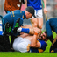 Maher was left writhing in agony having landed awkwardly on his knee before half-time. Photo by Ray McManus/Sportsfile