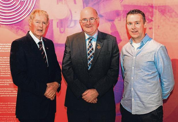 GAA president John Horan (centre) with former RTÉ commentator Michéal O Muircheartaigh and Oisin McConville at the opening of the new exhibition in the GAA Museum 'Tuning In – From Wireless to WiFi' in Croke Park. Photo: Eóin Noonan/Sportsfile
