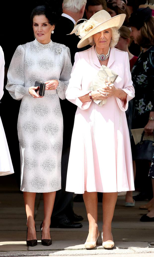 Queen Letizia of Spain and Britain's Camilla, Duchess of Cornwall attend the Order of the Garter Service at Windsor Castle, Britain June 17, 2019. Steve Parsons/Pool via REUTERS