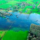Air Corps handout photo of the river Suck at Ballinasloe after a previous hit the area. Photo: Airman Jamie Martin/Air Corps/PA Wire.