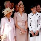 Sophie, Countess of Wessex, Queen Letizia of Spain, Camilla, Duchess of Cornwall, Queen Maxima of the Netherlands and Catherine, Duchess of Cambridge at the Order of the Garter Service at St George's Chapel in Windsor Castle on June 17, 2019 in Windsor