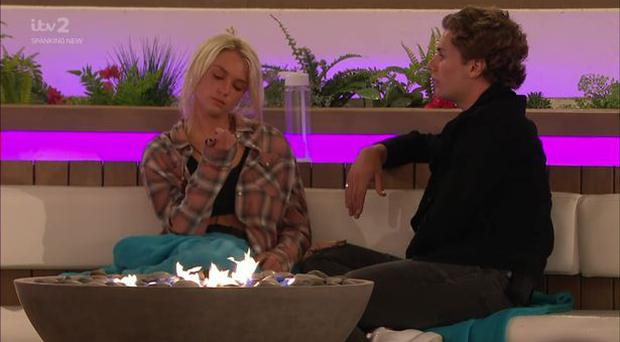 Lucie and Joe on Love Island. PIC: ITV2