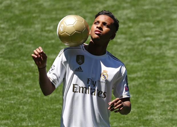 Real Madrid's Rodrygo is pictured during his presentation at the Bernabeu Stadium, Madrid, Spain. Photo: Reuters/Sergio Perez