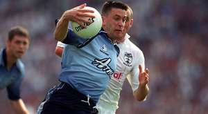 Dublin's Senan Connell takes on Kildare's Ken Duane during the Leinster SFC Final in July 2002 at Croke Park