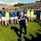 Manager Mickey Graham addresses the Cavan players following their Ulster SFC semi-final replay victory over Armagh last Sunday week. Photo: Oliver McVeigh/Sportsfile