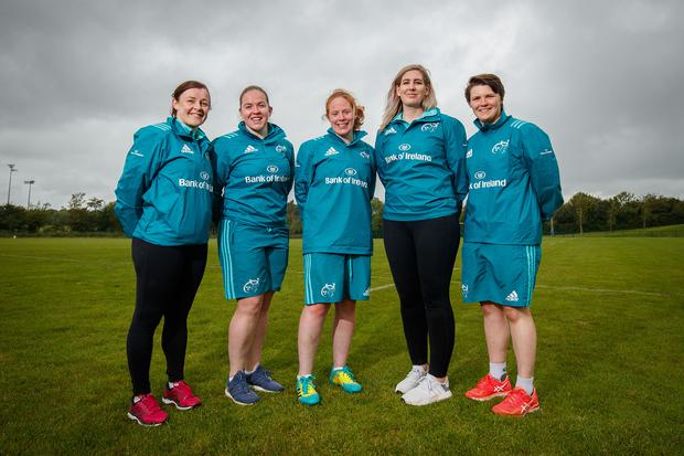 Munster U-18 Girls assistant coach Mairead Kelly, technical skills coach Niamh Briggs, head coach Fiona Hayes, team manager Sarah Hartigan and women's captain Ciara Griffin. Photo: INPHO/Oisin Keniry