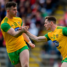 Jamie Brennan (R)celebrates with Donegal team-mate Patrick McBrearty after scoring his side's first goal against Tyrone. All signs are positive for Donegal, much more so than for Tyrone, Mayo, Galway and Monaghan. Photo: Sportsfile