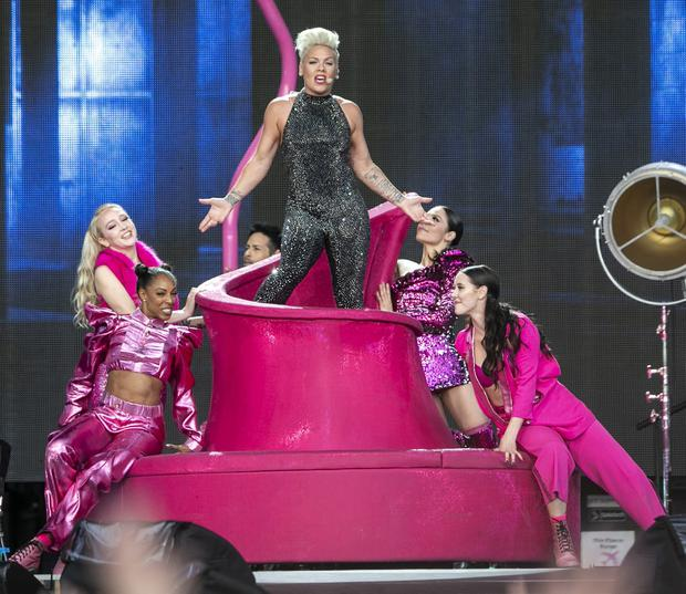 Pink's tour crew crash-land at Danish airport