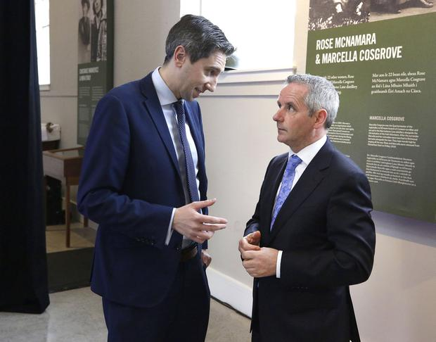 Challenging times: Health Minister Simon Harris, left, speaking to HSE director general Paul Reid. Photo: Damien Eagers / INM