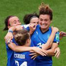 Italy's Cristiana Girelli celebrates with team mates after scoring against Jamaica. Photo: Reuters