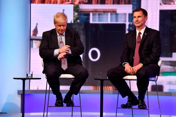 BBC handout photo of Boris Johnson (left ) and Jeremy Hunt during the BBC TV debate featuring the contestants for the leadership of the Conservative Party. Jeff Overs/BBC/PA Wire