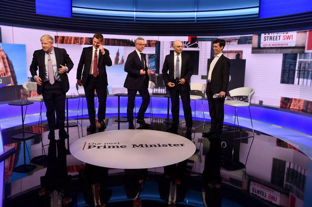 Boris Johnson, Jeremy Hunt, Michael Gove, Sajid Javid and Rory Stewart appear on BBC TV's debate with candidates vying to replace British PM Theresa May, in London, Britain June 18, 2019. Jeff Overs/BBC/Handout via REUTERS