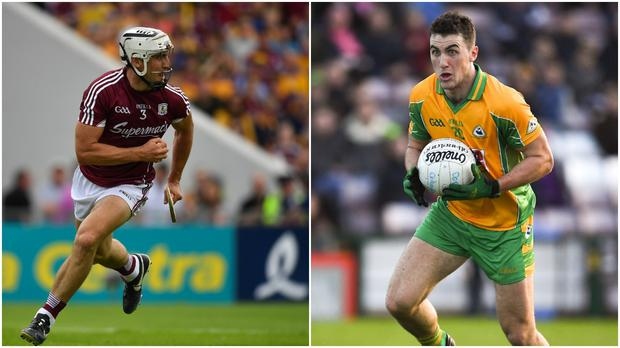 Daithi Burke in action for the Galway hurlers (left) and playing club football with Corofin (right).