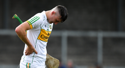 A dejected Oisin Kelly of Offaly after the Joe McDonagh Cup Round 5 match between Kerry and Offaly at Austin Stack Park, Tralee in Kerry. Photo by Brendan Moran/Sportsfile