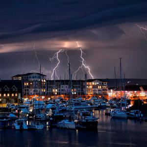 Handout photo taken with permission from the twitter feed of Mark Jarvis of a lightning storm in Eastbourne Photo credit: Mark Jarvis/Twitter/PA Wire