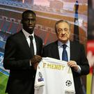 Real Madrid's Ferland Mendy poses with president Florentino Perez during his presentation. Photo: Reuters/Sergio Perez
