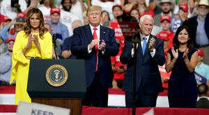 Rambling: Left to right, Melania Trump joined her husband Donald for a rally in Orlando with vice president Mike Pence and his wife Karen. Photo: John Raoux/AP Photo