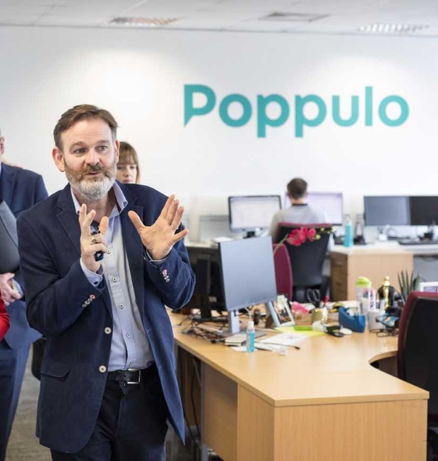 Expansion plan: Poppulo boss Andrew O'Shaughnessy as the firm announced a jobs boost for Cork; inset, Dripsey Woolen Mills, which was ownded by the O'Shaughnessy family