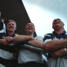 Breffni beat: Martin McHugh (C) celebrating with Michael Reilly and Donal Donohoe after leading Cavan to their 1997 Ulster SFC final success INPHO