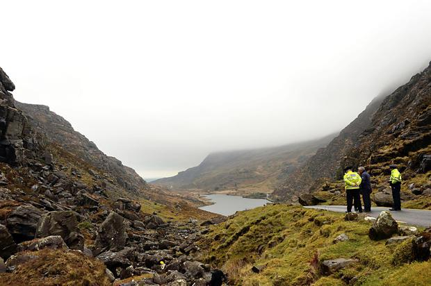 Gardai at the scene of the accident in April 2018 at the Gap of Dunloe near Killarney, Co Kerry. Photo: Sally MacMonagle