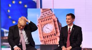 Boris Johnson (left) and Jeremy Hunt. Picture: Jeff Overs/BBC/PA